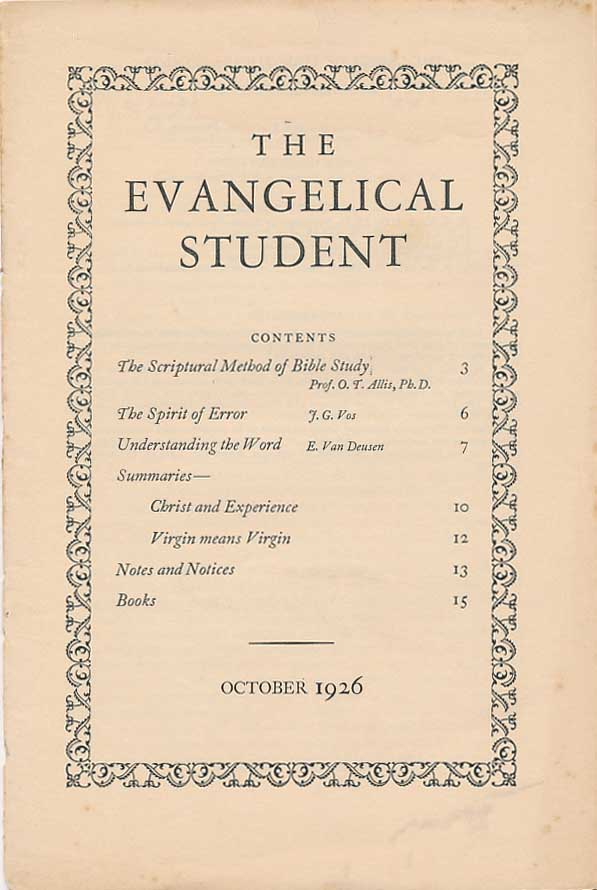 The Evangelical Student [1926-1939]